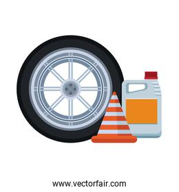 car tire with traffic cone and oil bottle, colorful design