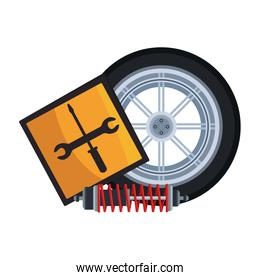 repair tools sign and car tire and shock absorber, colorful design