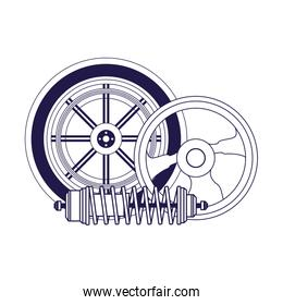 car tire with steering wheel and shock absorber, flat design