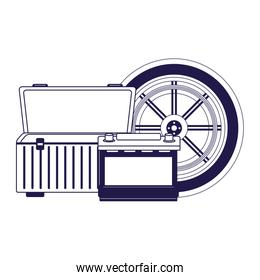 car tire with empty tools box and car battery, flat design