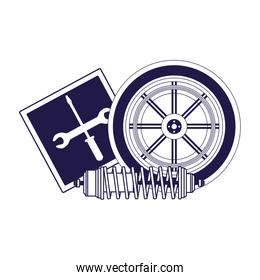 repair tools sign and car tire and shock absorber