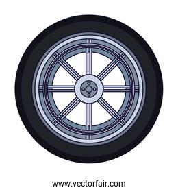 car tire icon over white background
