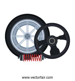 car tire with steering wheel and shock absorber