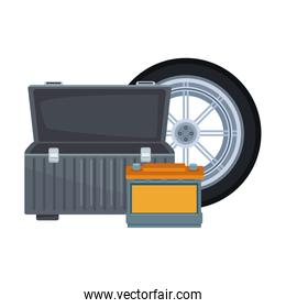car tire with empty tools box and car battery