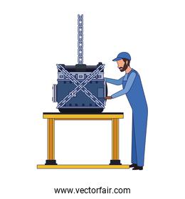 mechanic standing supervising a car engine on a table, colorful design
