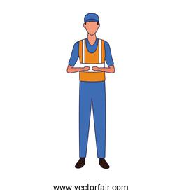 car mechanic standing wearing working clothes and safety helmet