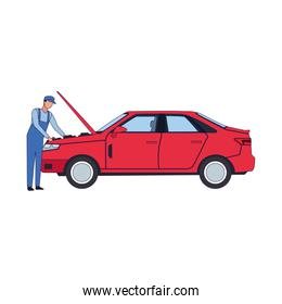 car mechanic fixing a red car, colorful design