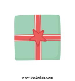 wrapped gift box star decoration party icon