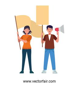 cartoon man protestating holding a megaphone and woman holding a blank sign
