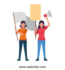 cartoon women protestating with blank signs and megaphone
