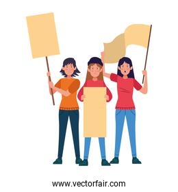 cartoon young women protestating with blank signs
