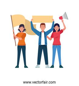 cartoon women and man standing holding blank signs and megaphone