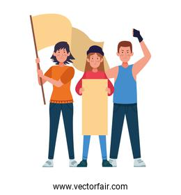 cartoon people protestating with blank posters, colorful design