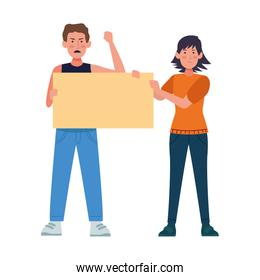 cartoon angry man and woman holding a blank poster