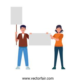 cartoon angry man and woman standing holding blank signs, colorful design