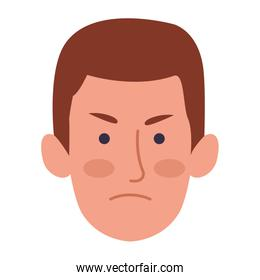 cartoon man face with angry expression, colorful design