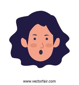 cartoon woman face with surprised expression, colorful design