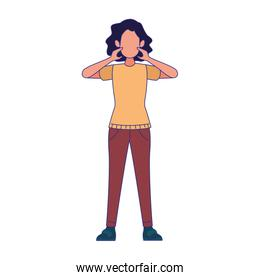 cartoon woman standing with surprised expression