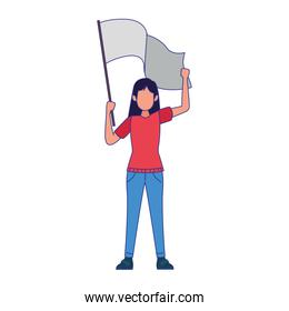 young girl standing holding a white flag, colorful design