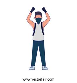 Cartoon vandal man standing using gloves and kerchief, colorful design