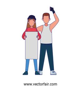 man and woman protestating with blank post