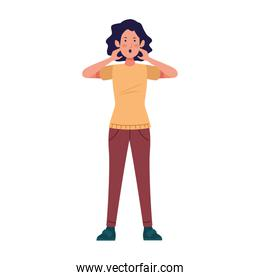 cartoon woman standing with surprised expression, colorful design