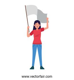 young girl standing holding a white flag