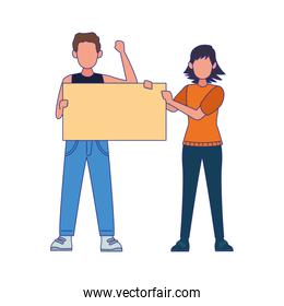 cartoon woman and man standing holding a blank sign, colorful design