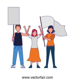 cartoon people protestanting holding flag