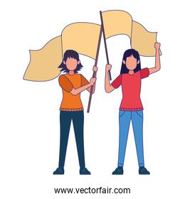 cartoon women protestating holding flags, colorful design