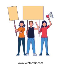 cartoon young people protestating with blank signs and megaphone