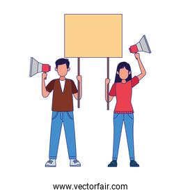 cartoon man and woman protestating with megaphones and holding a blank sign