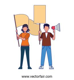 cartoon man protestating holding a megaphone and woman holding a blank sign, colorful design