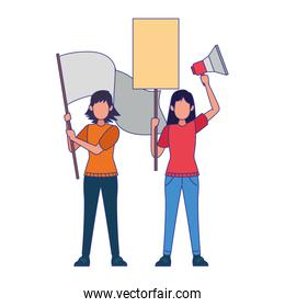 cartoon women protestating with blank signs and megaphone, colorful design