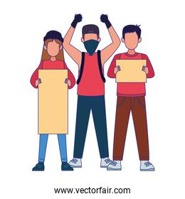 cartoon young people protestating holding blank signs, colorful design