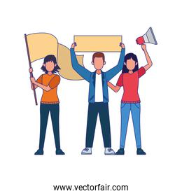 cartoon women and man standing holding blank signs and megaphone, colorful design