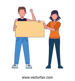 cartoon angry man and woman holding a blank poster, colorful design
