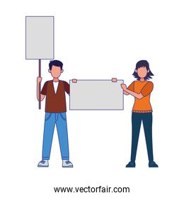 cartoon angry man and woman standing holding blank signs