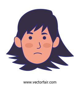cartoon woman face with angry expression, colorful design