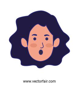 cartoon woman face with surprised expression