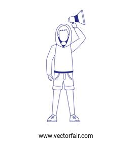 cartoon young man using a sweater and holding up a megaphone, flat design