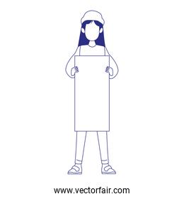cartoon young girl standing and holding a blank sign, flat design