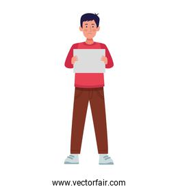 cartoon man holding a blank banner icon, colorful design
