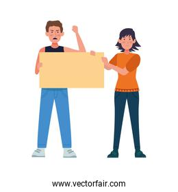 cartoon woman and man standing holding a blank sign