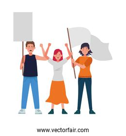 cartoon people protestanting holding flag and sign