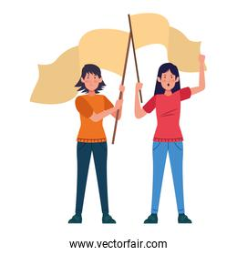cartoon women protestating holding flags