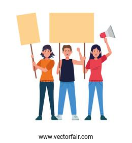 cartoon young people protestating with blank signs and megaphone, colorful design