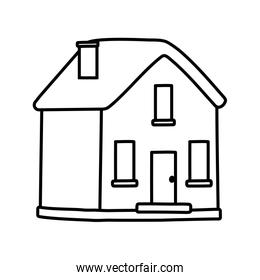 classic house facade chimney icon thick line