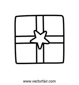 wrapped gift box star decoration party icon thick line