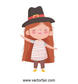 little girl with pilgrim hat isolated icon